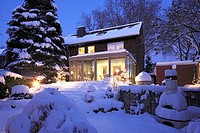 residential house with winter garden, single-family home, row house, garden side, flower garden, outside staircase, perron, severe winter, snow-covere...