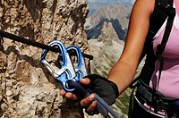 Carabiner at fixed rope, climbing tour onto Paterno, Alta Pusteria, Sexten Dolomites, South Tyrol, Italy, Europe
