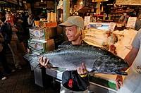 Fishmonger at Pike Place Market, Seattle, USA