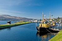 Boats in the Caledonian Canal at Corpach Fort William Highland Scotland