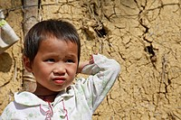 Child in a small Vietnamese village near Sa Pa, Vietnam, Southeast Asia