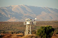 Israeli watchtower at the Israeli-Syrian border crossing at Quneitra, Golan Heights, Israel, Middle East, Orient