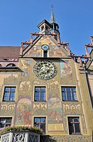 Astronomical clock on the east facade of Ulm's City Hall, Ulm, Upper Swabia, Baden-Wuerttemberg, Germany, Europe