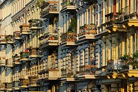 Balconies and old buildings in the Arndtstrasse street, Chamissoplatz, in Kreuzberg district, Berlin, Germany, Europe