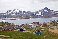 View on Ammassalik-Tasiilaq, main town of East Greenland, East Greenland, Denmark