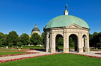 Royal gardens of Hofgarten with pavilion, Munich, Bavaria, Germany, Europe