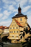 Old town tall with half-timbered house and Obere Bruecke bridge on an island in the river Regnitz, UNESCO World Heritage Site Bamberg, Upper Franconia...