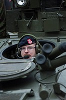 British tank commander in his vehicle