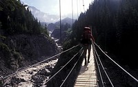 Man crossing Suspension Bridge, California, Mount Rainier, National Park, USA