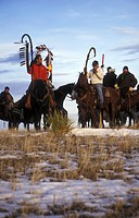 Lakota on Horses with Eaglestave on their Way to Wounded Knee