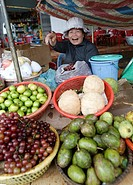 A fruit and vegetable stand in Dliya in the Dolisa district, Daklak province, Vietnam, Southeast Asia