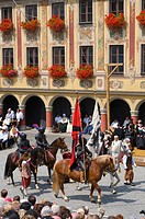 Wallenstein's 1630 procession in front of the Tax House building on the market square in Memmingen, Allgaeu, Bavaria, Germany, Europe