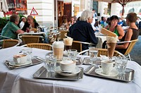 Variety of coffees, traditional Café Korb, Wien, Oesterreich, Vienna, Austria, Europe