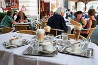 Variety of coffees, traditional Café Korb, Wien, Oesterreich, Vienna, Austria, Europe