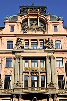 Art Nouveau building, Wenceslas Square, Prague, Bohemia, Czech Republic, Europe