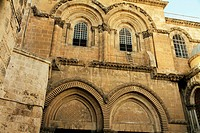 Church of the Holy Sepulchre on the Via Dolorosa Way of Suffering in the old city of Jerusalem Israel