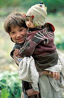 Pakistan, Baltistan, Khaplu surroundings, Elder and younger brother