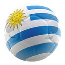 3D football with the flag of Uruguay _ isolated over a white background