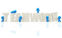 3D men with word teamwork isolated over white