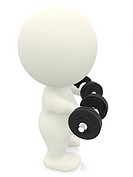 3D person lifting free weights isolated over a white background