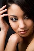 A face shot of a beautiful black woman