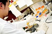 A scientist doing a research in the laboratory