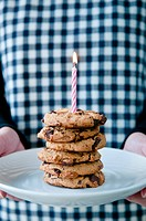 Chocolate chips cookies with candle