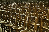 rows of chairs inside Notre Dame cathedral Reims Marne 51 France