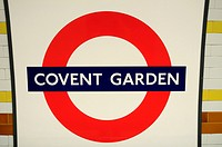 Covent Garden Underground Tube Station Symbol, London, England, UK