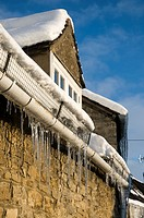icicles on a cottage in West Oxfordshire