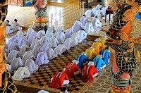 Vietnam, Tay Ninh Province, the temple of the Cao Dai Holy See near the town of Tay Ninh