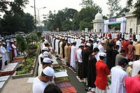 Muslim devotees offering prayers in an Eid congregation at National Eidgah field Dhaka, Bangladesh October 2008