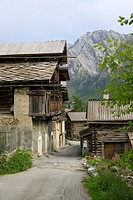 St Veran, the highest village in Europe, 2042 meters _ Traditional house in stone, surmounted by a part in larch wood to stock the fodder