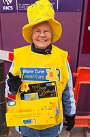 A Marie Curie cancer care charity worker collecting donations in Norwich , Norfolk , England , Britain , Uk