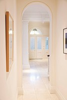 White entryway of elegant house