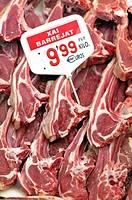 Lamb chops, La Boqueria market, Barcelona, Catalonia, Spain