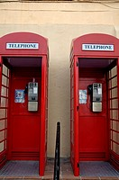 Two old-fashioned public telephone boxes in Gibraltar, British Overseas Territory, England