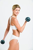 Young woman with hand weights (thumbnail)