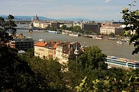 Danube river view from Gellert Hill Gellért-hegy in Budapest, Hungary