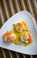 Seared King Scallops with chilli oil