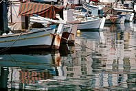 Reflections in the harbour at Gythio, Southern Peloponnese, Greece