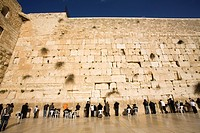 Jews praying, Western Wall, Wailing Wall, Old city, Jerusalem, Israel, Middle East.