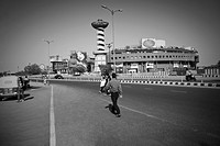 Road with shopping mall in the background, Ansal Plaza, New Delhi, India