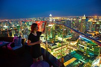 Centara Hotel, Red sky Terrace bar, Skyline, Bangkok, Thailand.