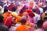 People celebrating Holi festival, Barsana, Uttar Pradesh, India