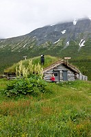 Norway, traditional turf_covered hut