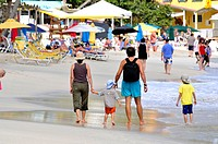 Family Walks Cane Garden Bay Beach Tortola BVI Caribbean Cruise