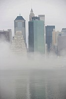 USA, New York State, New York City, Skyline in fog