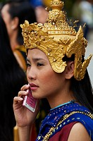 Laos, Province of Luang Prabang, city of Luang Prabang, World heritage of UNESCO since 1995, Lao New year festival, young woman in traditionnal dress