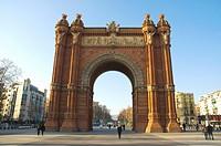 Arc de Triomf on Passeig de Llouis Companys pedestrian boulevard central Barcelona Catalunya Spain Europe